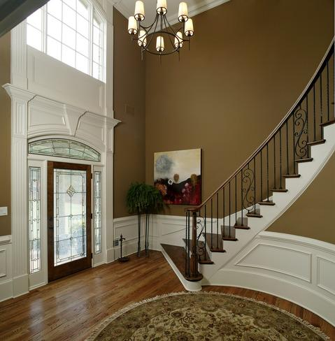 Traditional Entry with white picture frame moulding