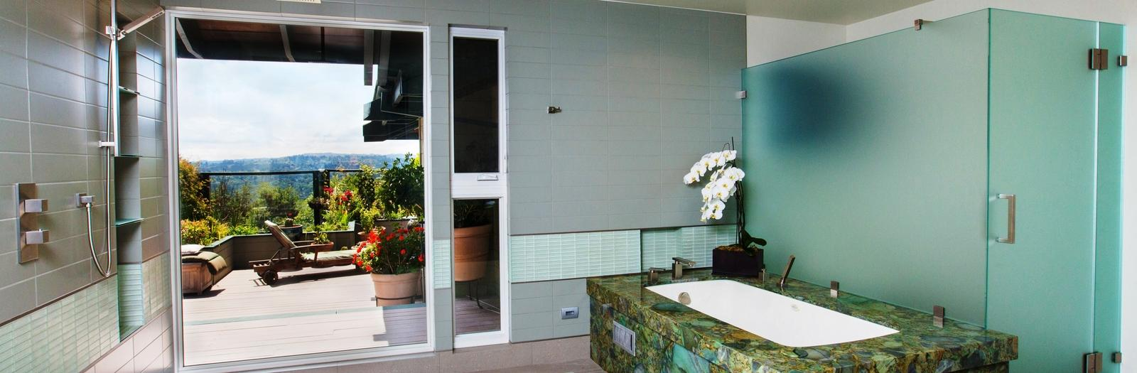 Modern Bathroom with ceiling mount shower head