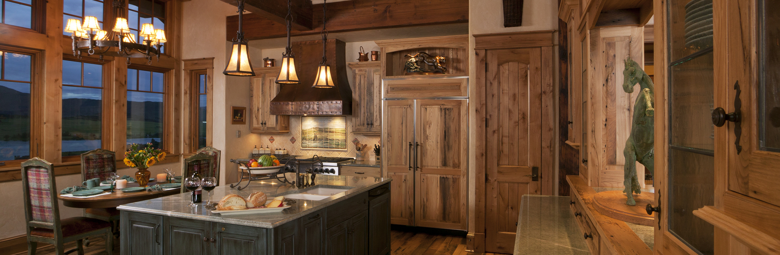 Lodge Kitchen with stained wood cabinet facade