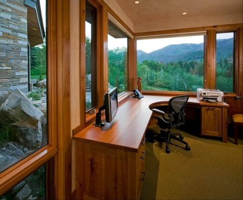 Modern Home Office with mission style cabinet doors