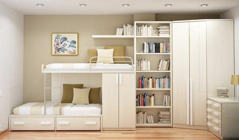 Contemporary Bedroom with under bed storage drawers
