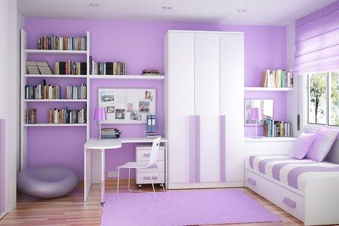 Modern Kids Room with trundle bed with purple striped bedding