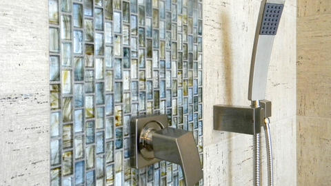 Modern Bathroom with green blue yellow mosaic accent tile