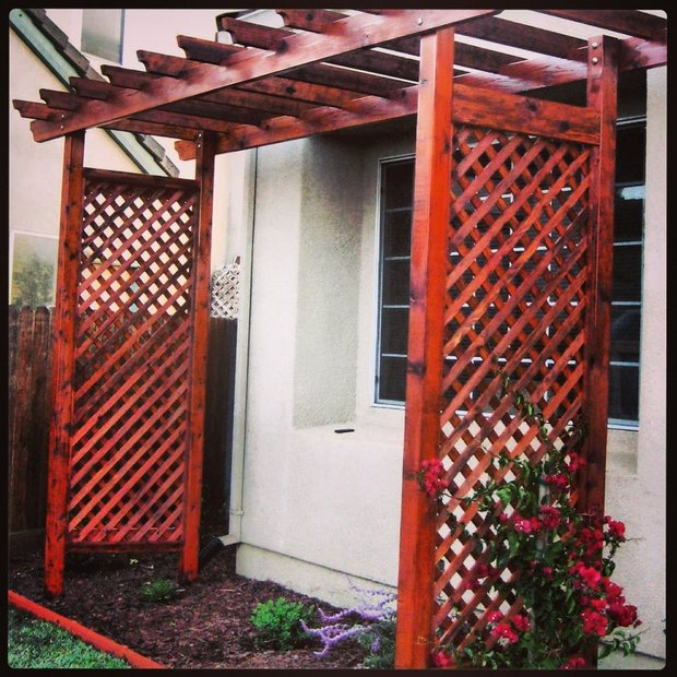 Dirty Wood Chips ~ Traditional landscape in hollister stained wood arbor
