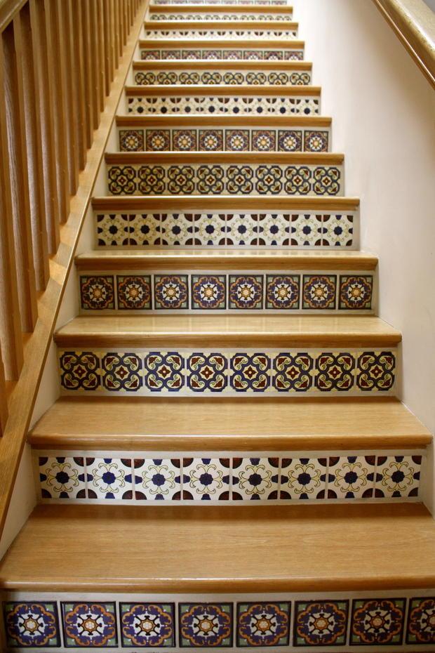 Southwestern staircase in moorpark wood railing ceramic for Southwestern flooring