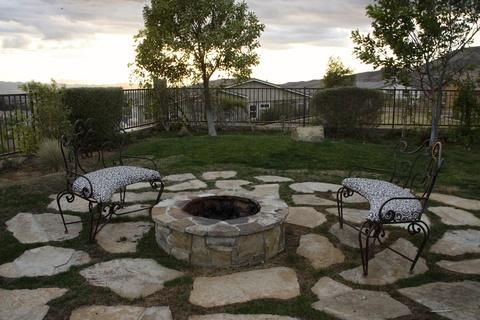 Transitional Landscape with wrought iron furniture