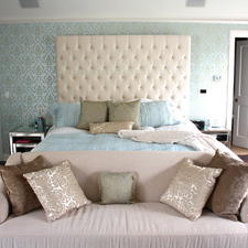 Transitional Bedroom with white and blue area rug