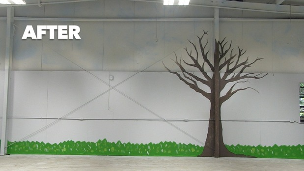 Traditional Garage In Lancing Green Grass Mural By