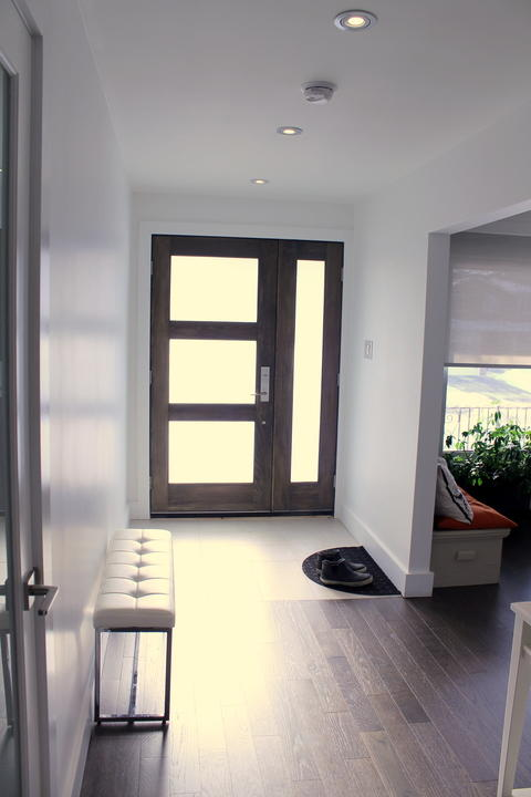 Modern Entry with frosted glass entry door with walnut stained wood