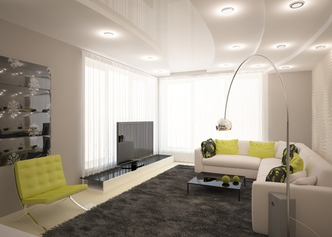 Modern Family Room with white sectional sofa