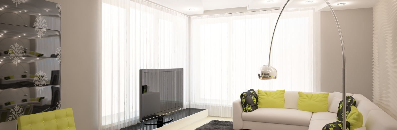 Modern Family Room with sheer white curtains