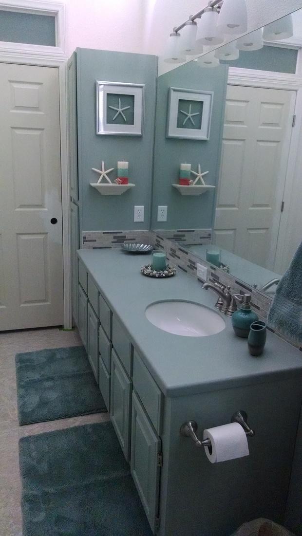 Cape cod bathroom in henderson starfish decor tile for Bathroom remodel henderson nv