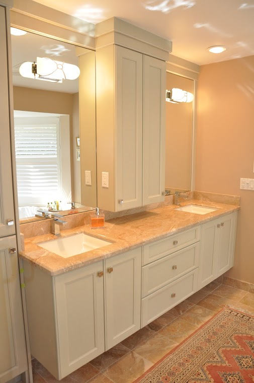 Traditional Bathroom in Jupiter - tan tile floor, master ...