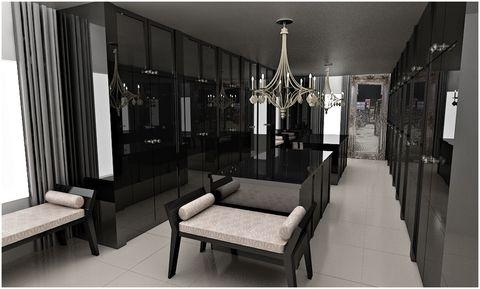 Modern Closet with black slab panel cabinets