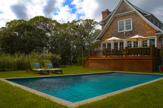 Modern Pool In Southampton Dormer Window Wood Shingle Siding By Experience Swimming Pools