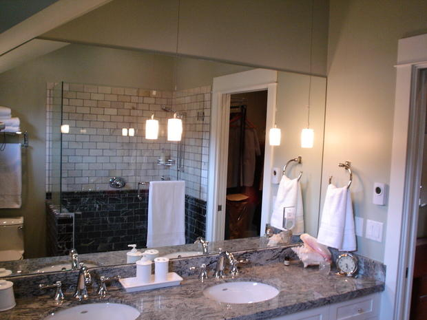 Transitional Bathroom In North Vancouver Pendant Lights Grey Marble Counter By Mike