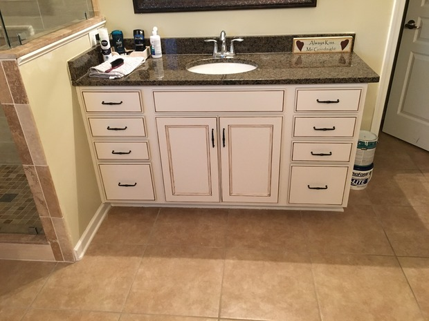 Transitional Bathroom In Marrietta Undermount Sink Raised Panel Vanity Cabinet By Renowned