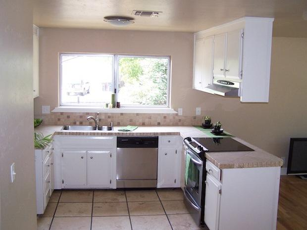 Contemporary kitchen in rocklin tile floor tan painted for Kitchen renovations centurion