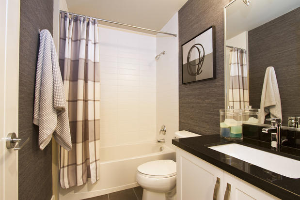 Contemporary Bathroom In Richmond White Shower Tub Combo Dark Gray Wallpaper By Bismark