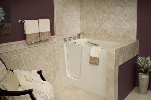Traditional Bathroom In Albuquerque Walk In Tub Tile Tub Surround By Poulin Design