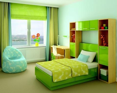 Modern Kids Room with slab panel cabinet doors