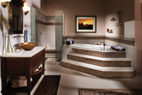 Eclectic Bathroom with brown granite granite flooring