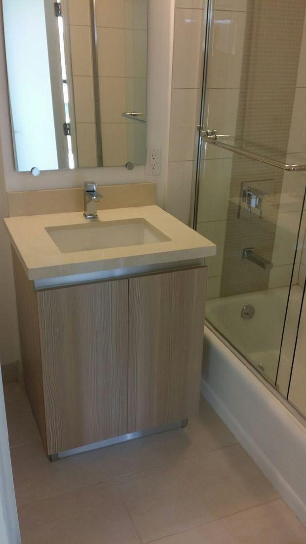 Mid century modern bathroom in van nuys chrome framed Mid century modern bathroom faucets