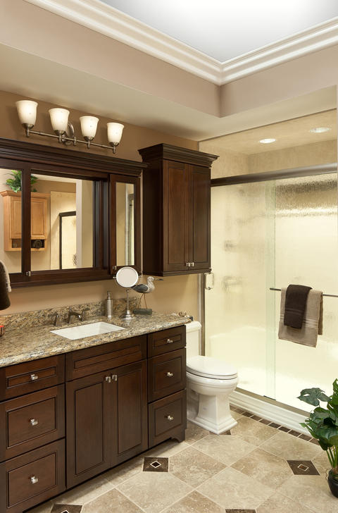 Traditional Bathroom with brushed nickel framed sliding shower door