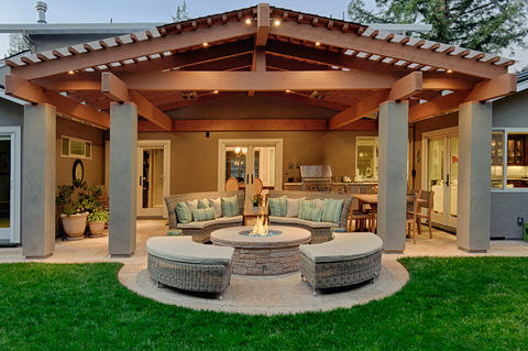 Transitional Patio with beautiful outdoor entertaining area