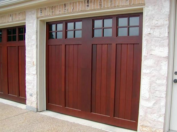 Arts crafts garage in austin stone siding brick for Arts and crafts garage