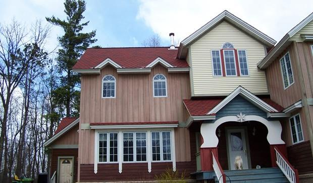 Eclectic Home Exterior In Bellingham - Blue Wood Shingle Siding, Covered Entry