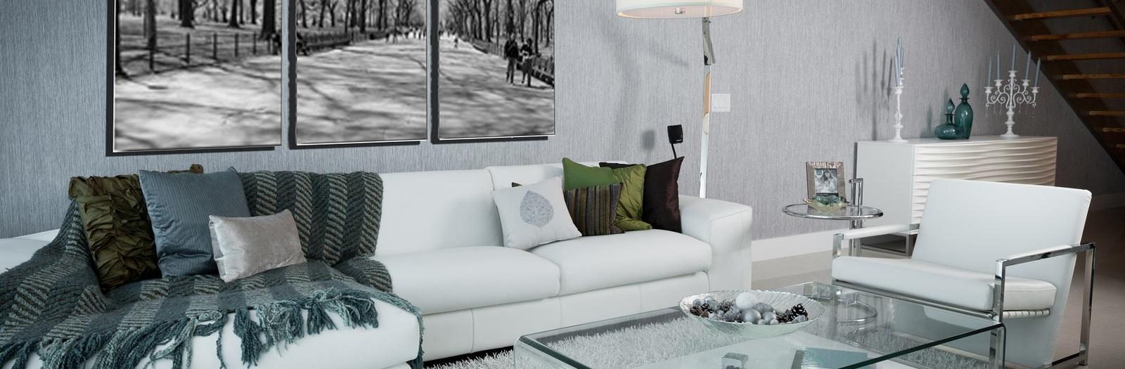 Contemporary Family Room with contemporary style floor lamp with drum shade