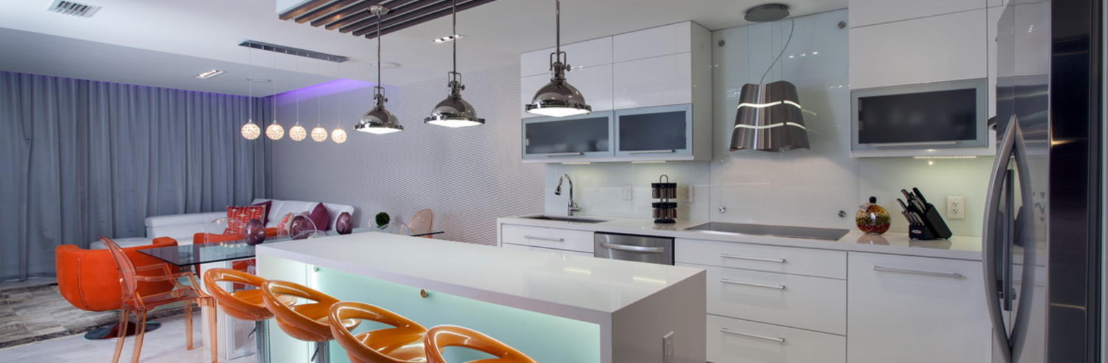 Modern Kitchen with modern style kitchen with white cabinetry and orange barstools
