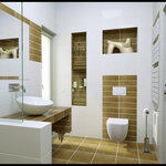 Contemporary Bathroom with contemporary high effecient toilet