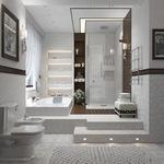 Contemporary Bathroom with textured wall paper
