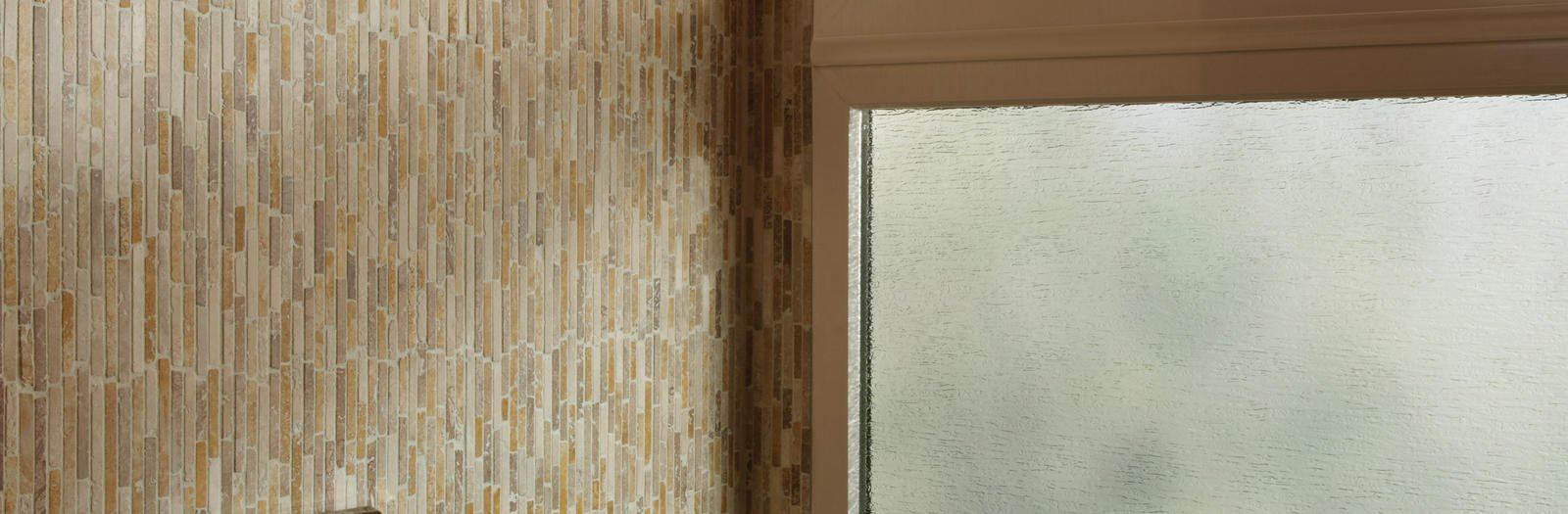 Contemporary Bathroom with textured glass windowed shower wall