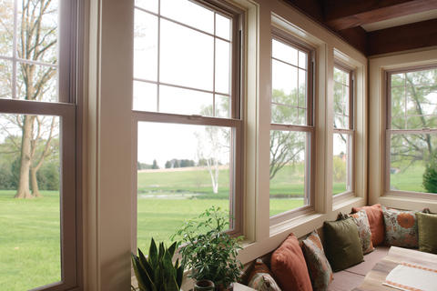 Transitional Sunroom with single hung window