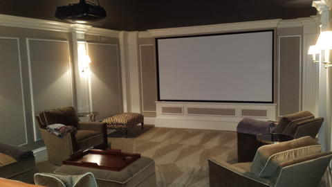 Modern Home Theater with picture frame moulding