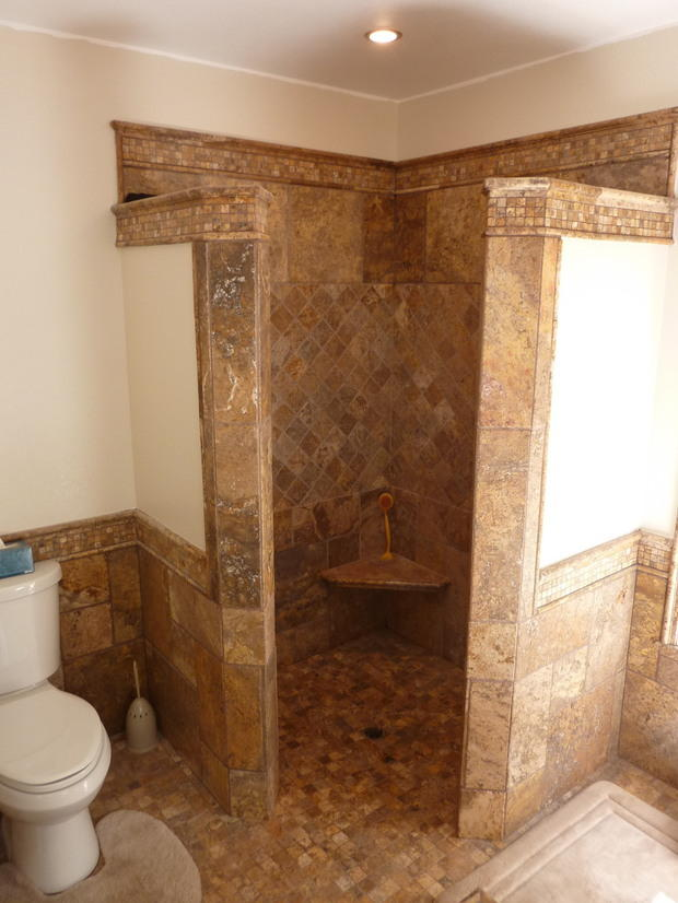 french country bathroom in midland tiled floor walk in