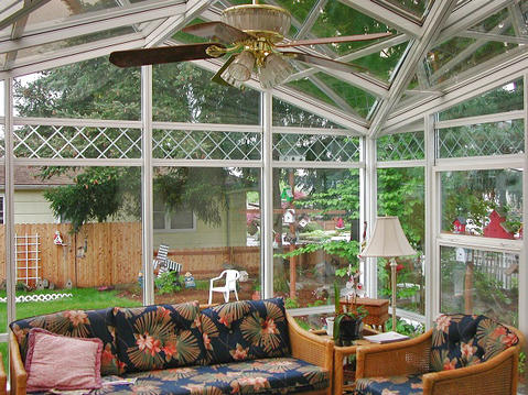 Modern Sunroom with large windows and ceiling
