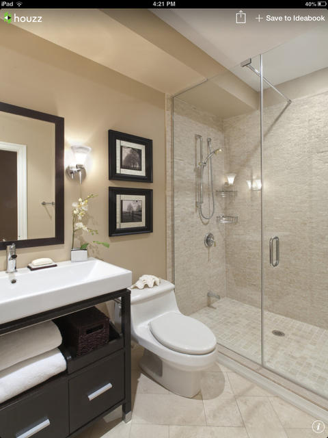 Transitional Bathroom with oversized rectangular vessel sink