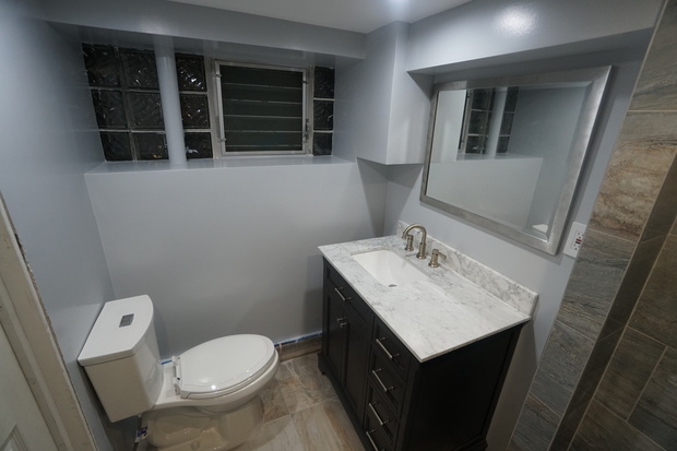 Contemporary Bathroom In Brooklyn Marble Countertop Tile Floor By Johnny Home Improvement