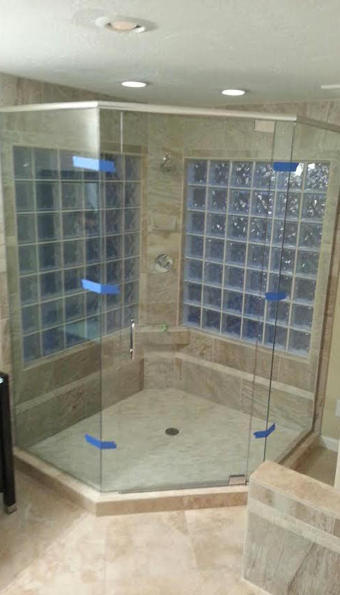 Contemporary Bathroom In Scottsdale Glass Block Windows Tile Floor By Nfnt Llc