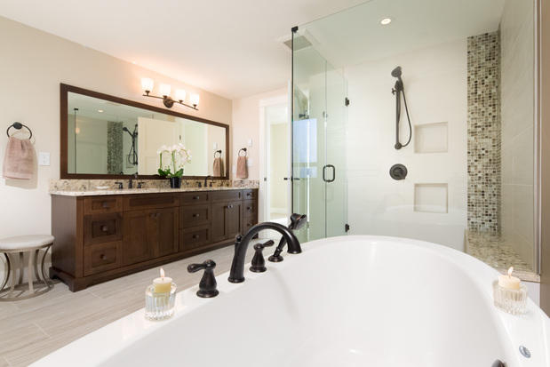 Transitional Bathroom In North Vancouver Double Sinks Walk In Shower By Alair Homes West
