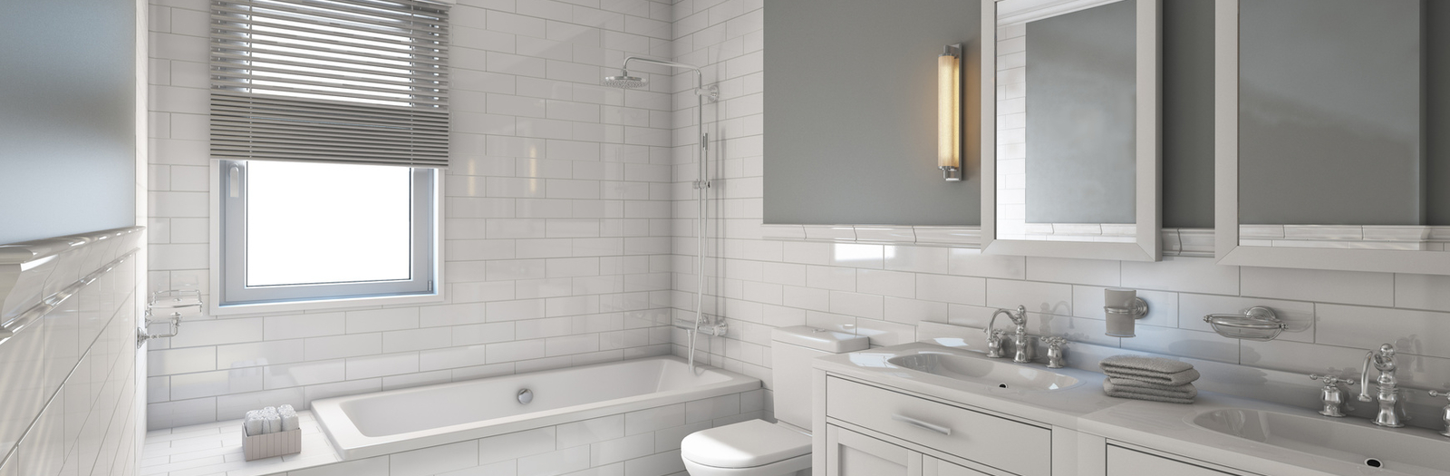 Transitional Bathroom with white subway tile shower surround