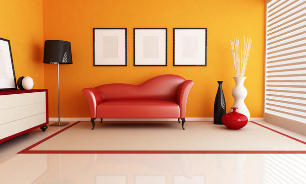 Modern Living Room With Bright Orange Wall Paint