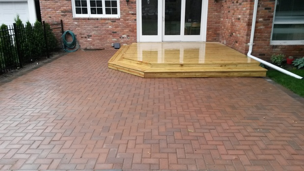 Transitional Patio In Birmingham - Sliding Patio Door Herringbone Pattern | By Zuma Renovation ...