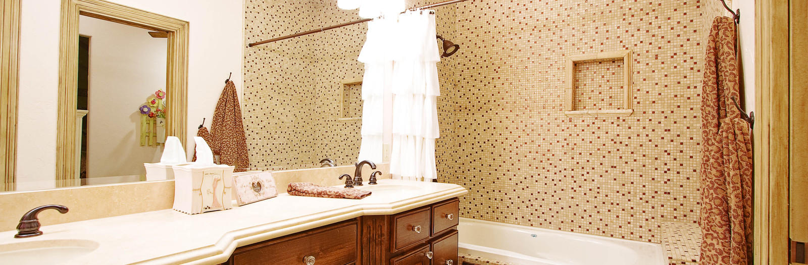 Transitional Bathroom with oil rubbed bronze faucet