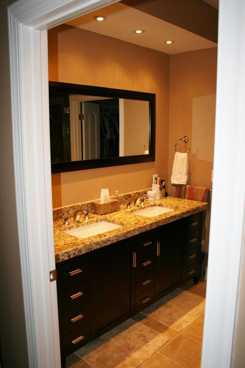 Transitional Bathroom with arc polished nickel bathroom faucets