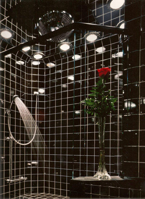 Eclectic Bathroom with glass shower enclosure